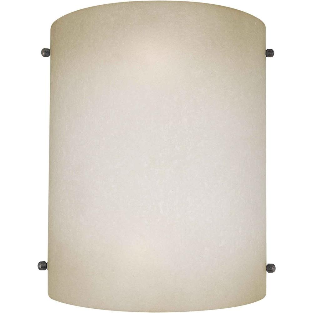 Talista Lucian 2-Light Brushed Nickel Sconce with Umber Mist Glass