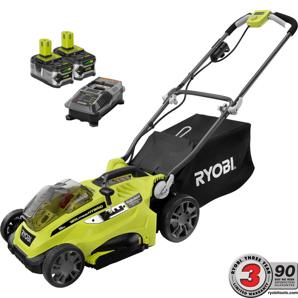 One 18 Volt Lithium Ion Hybrid Walk Behind Push Lawn Mower Two 4 0 Ah Batteries Charger Included