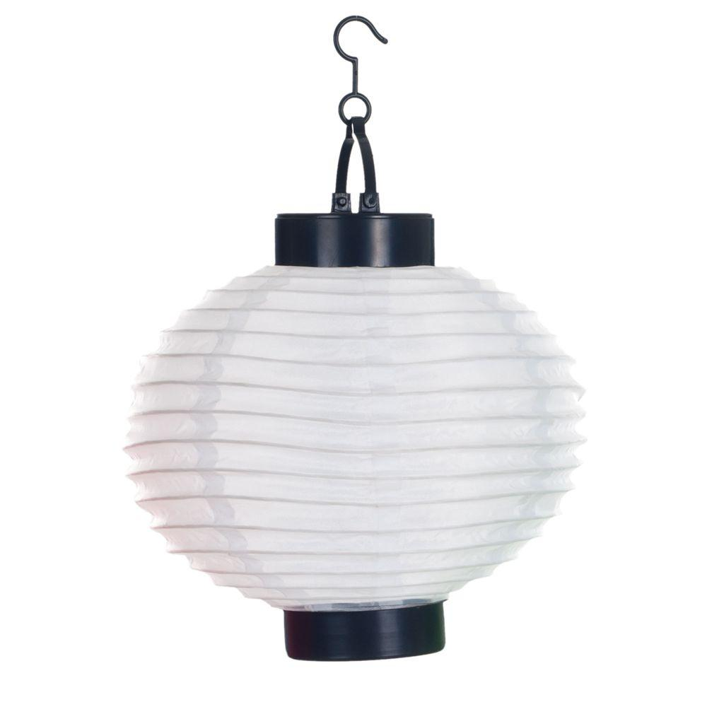 Solar Landscape Lantern Lights: Pure Garden 4-Light White Outdoor LED Solar Chinese