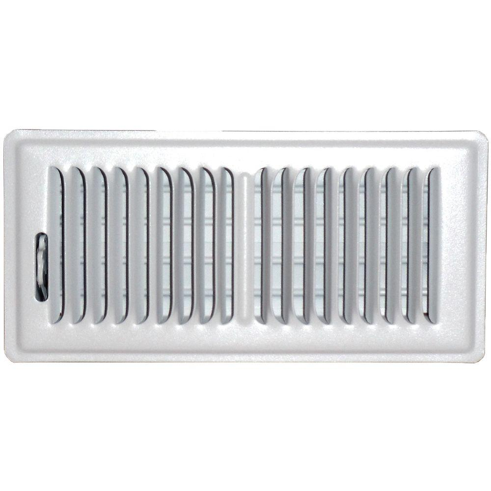 4 in. x 14 in. Floor Vent Register, White with 2-Way