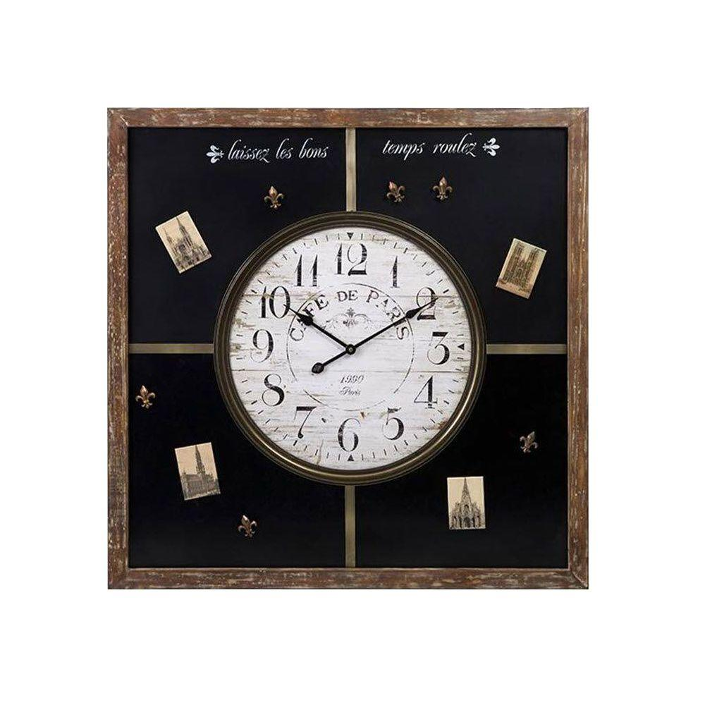 Home Decorators Collection Paris 29.5 in. x 29.5 in. Square Black Magnetic Chalkboard Clock