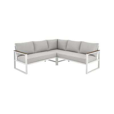 West Park White Aluminum Outdoor Patio Sectional Sofa Seating Set with CushionGuard Stone Gray Cushions