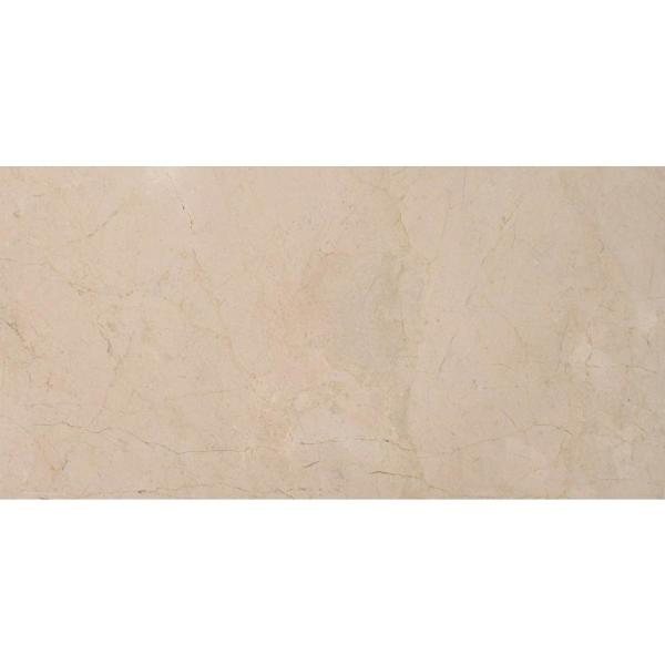 Crema Marfil 12 in. x 24 in. Polished Marble Floor and Wall Tile (10 sq. ft./case)