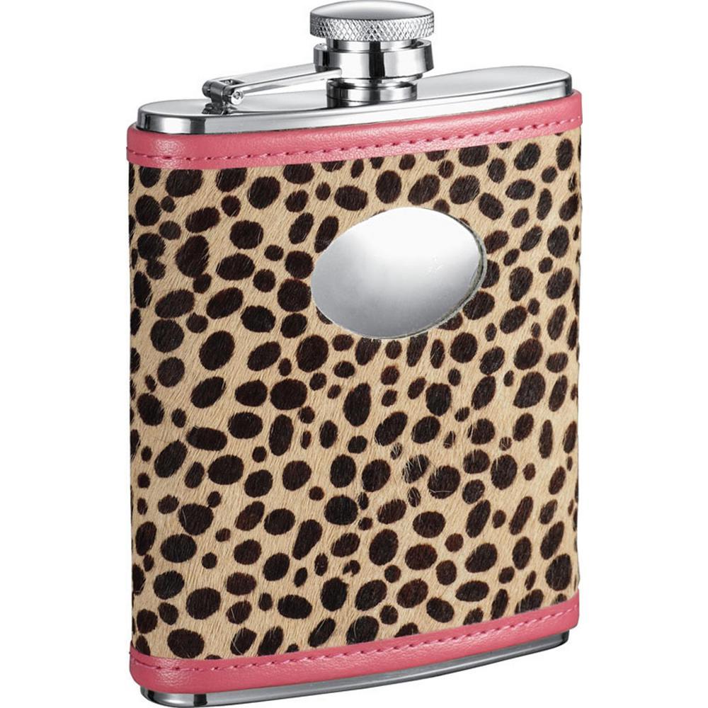 Visol Cheetah Pink and Cheetah Pattern Liquor Flask