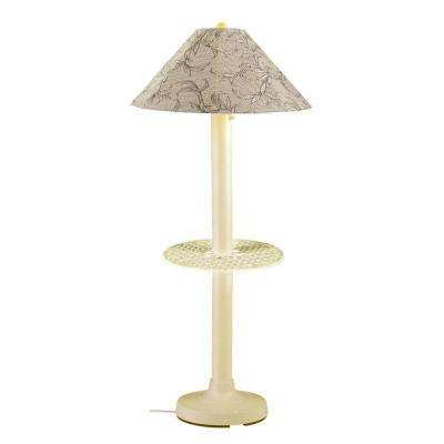 Catalina 63.5 in. Bisque Outdoor Floor Lamp with Tray Table and Bessemer Linen Shade