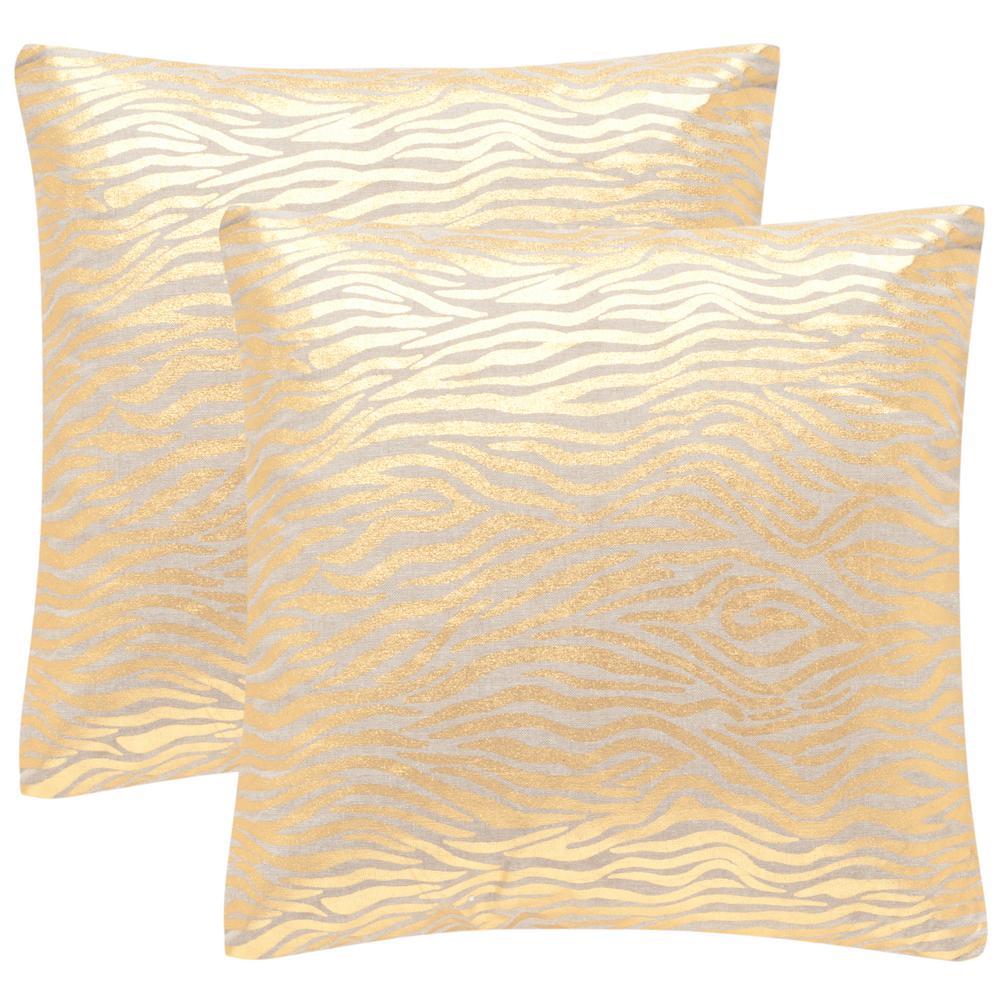 Demi Metallics Gold Geometric Down Alternative 22 in. x 22 in. Throw Pillow (Set of 2)