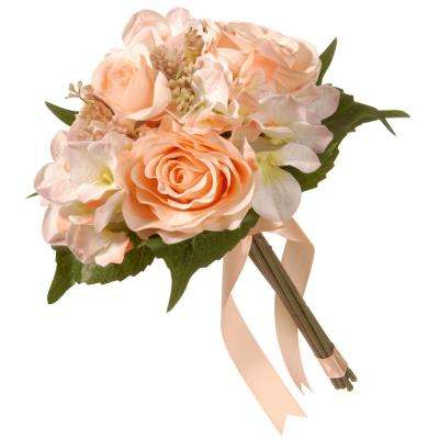 12.2 in. Mixed Peach Rose and Hydrangea Bouquet