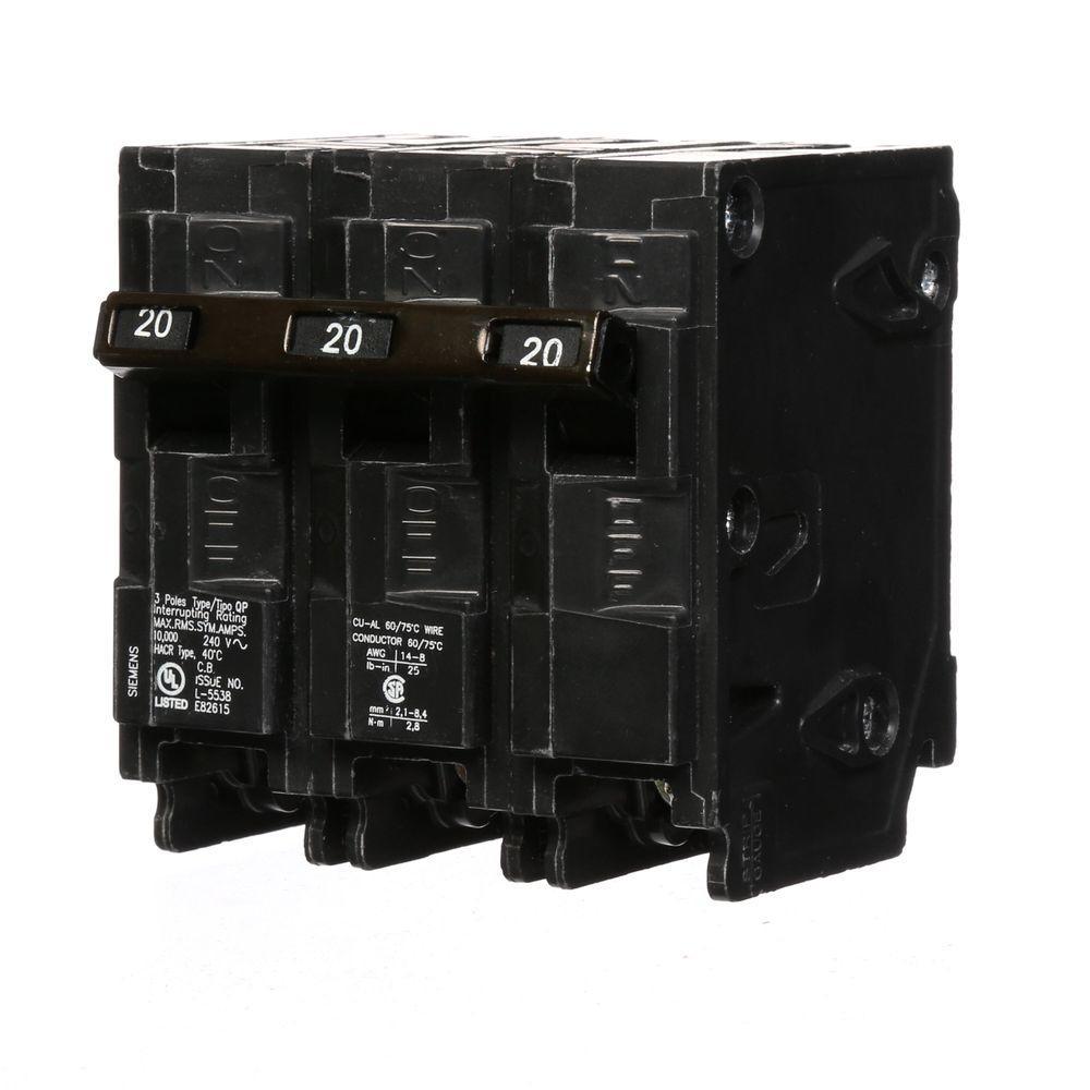 20 Amp 3-Pole Type QP Circuit Breaker