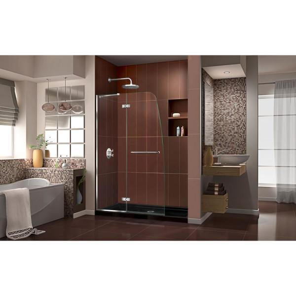 Dreamline Aqua Ultra 36 In X 60 In X 74 75 In Semi Frameless Hinged Shower Door In Chrome With Shower Base In Black Dl 6523c 88 01 The Home Depot