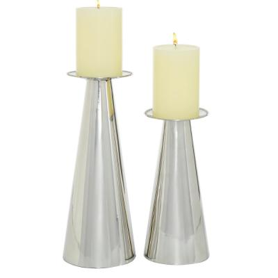 8.75 in., 11 in. Tall Silver Steel Candle Holder (Set of 2)