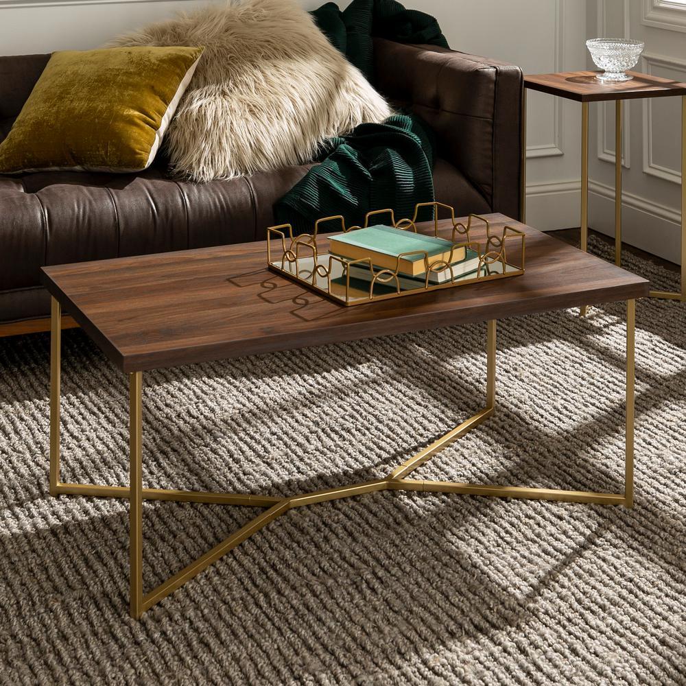 """42"""" Y-Leg Coffee Table - Dark Walnut/Gold"""