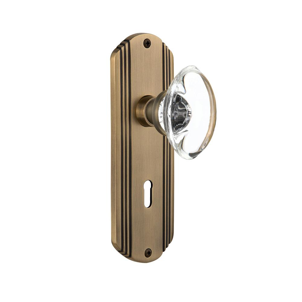 Nostalgic Warehouse Deco Plate Interior Mortise Oval Clear Crystal Glass Door  Knob In Antique Brass 706658   The Home Depot