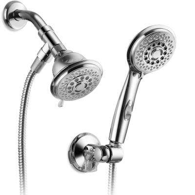 6-spray 4 in. Dual Shower Head and Handheld Shower Head in Chrome