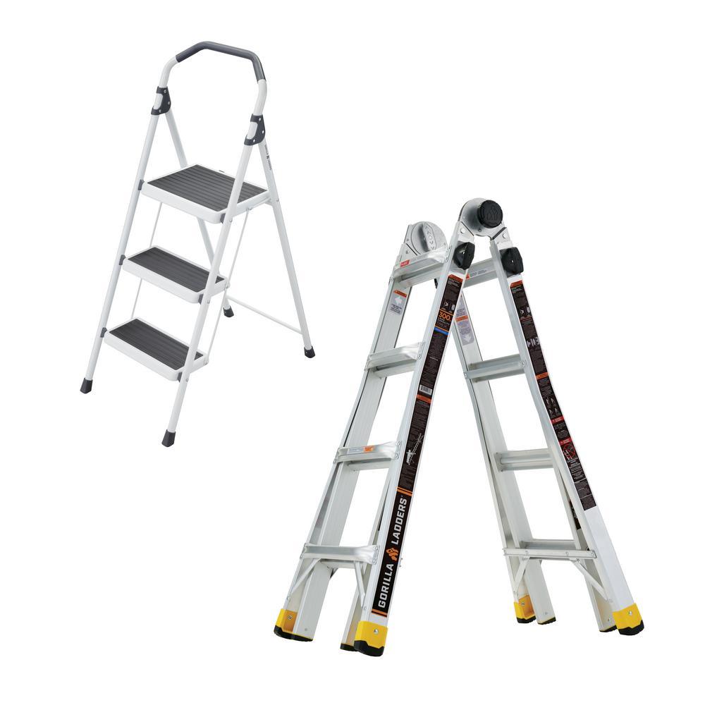 Gorilla Ladders 18 ft. Reach MPXA Multi-Position Ladder/3-Step Lightweight Steel Step Stool (Combo-Pack)