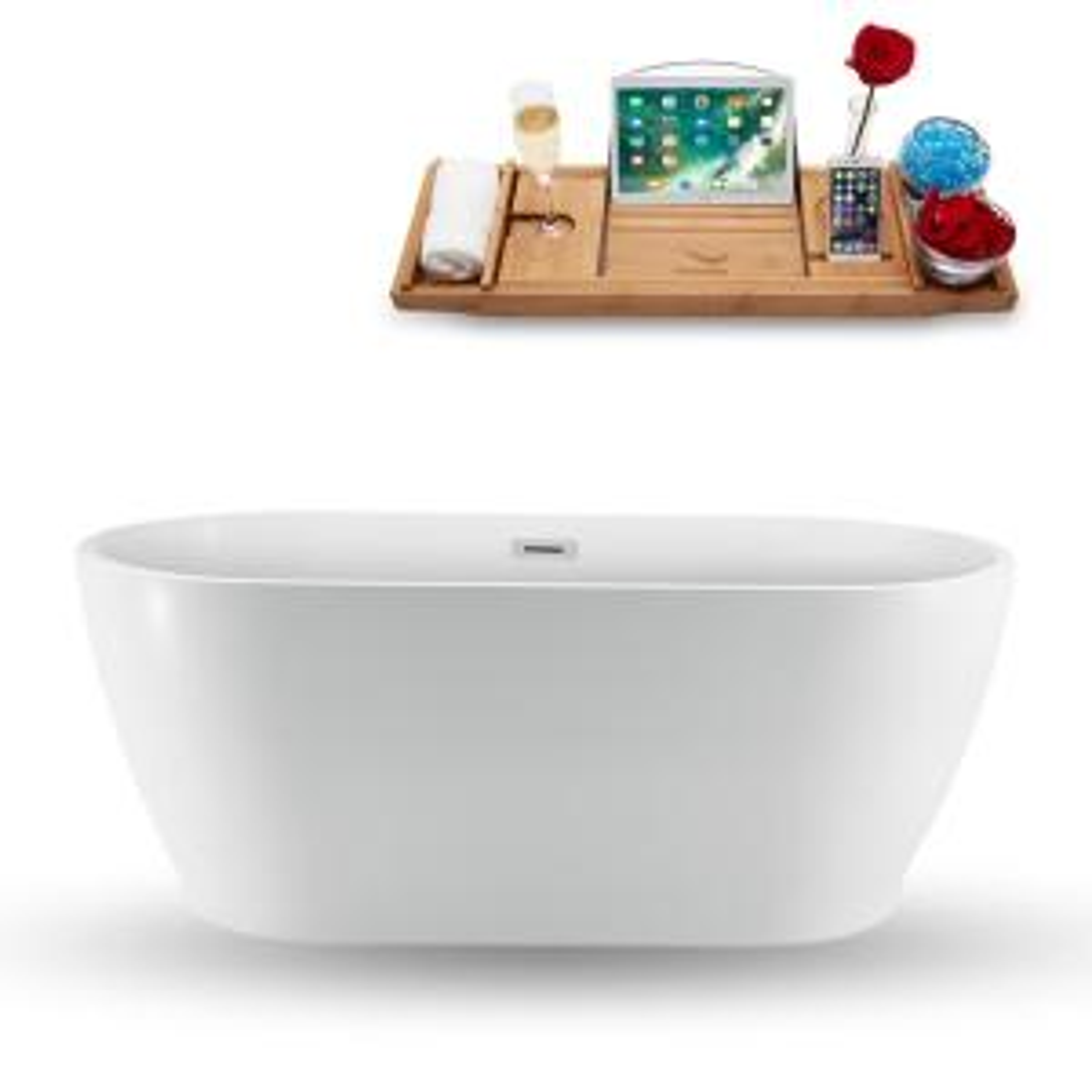 59.1 in. Acrylic, Fiberglass Flatbottom Non-Whirlpool Bathtub in Glossy White