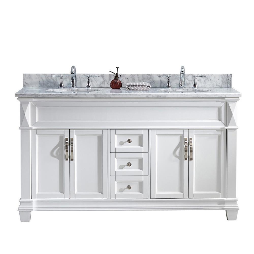 Virtu USA Victoria 60 inch W x 22 inch D Double Vanity in White with Marble Vanity Top in White with White Basin by Virtu USA