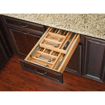 4.25 in. H x 14.5 in. W x 21 in. D Tiered Cutlery Drawer with Soft-Close Blum Slides