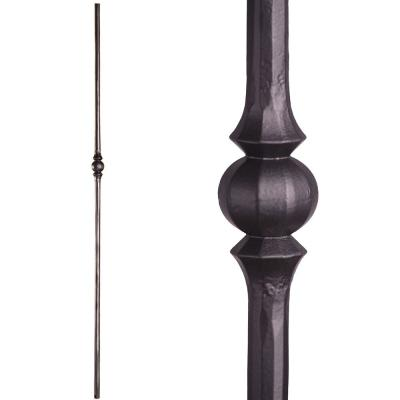 Tuscan Round Hammered 44 in. x 0.5625 in. Satin Black Single Sphere Solid Wrought Iron Baluster