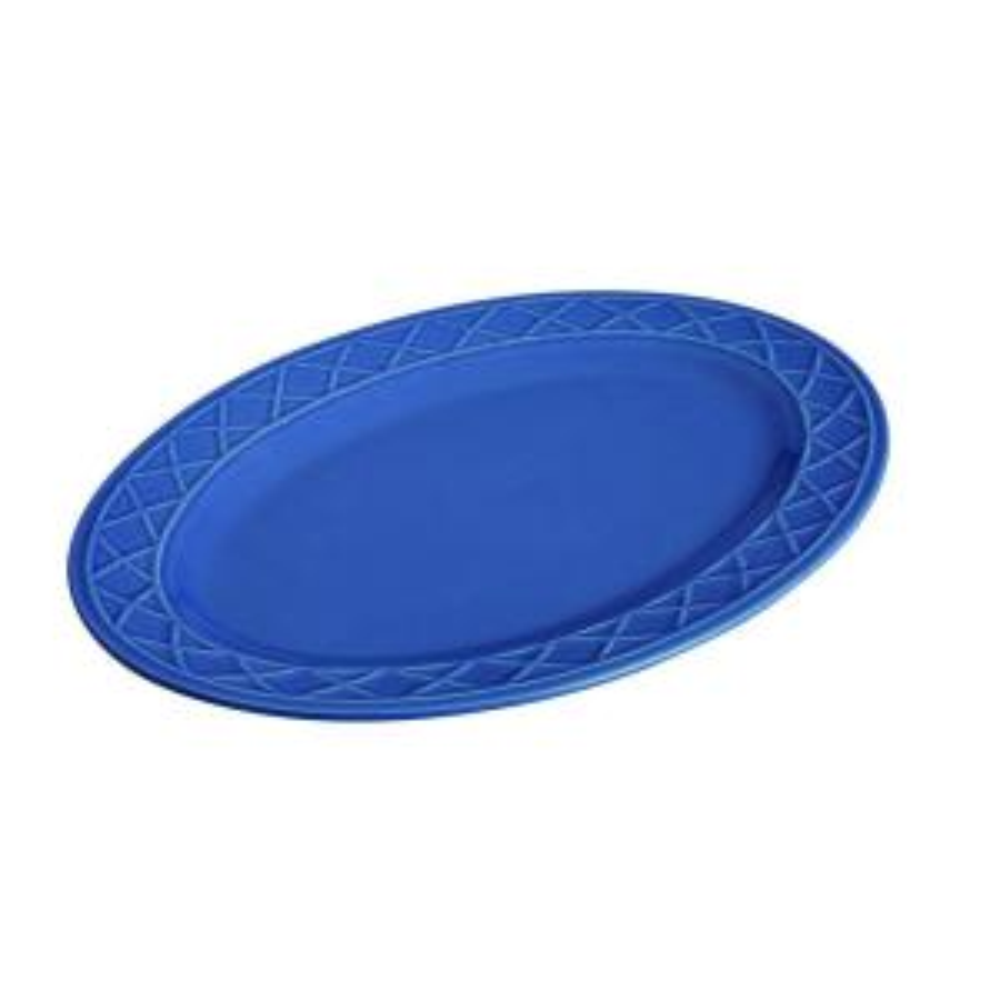 Paula Deen Dinnerware Savannah Trellis 10 inch x 14 inch Stoneware Oval Serving Platter in Cornflower Blue by Paula Deen