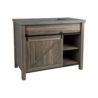 Harlem 42 in. W x 21 in. D Bath Vanity in Brown Oak with Faux Cement Vanity Top in Gray with Gray Basin