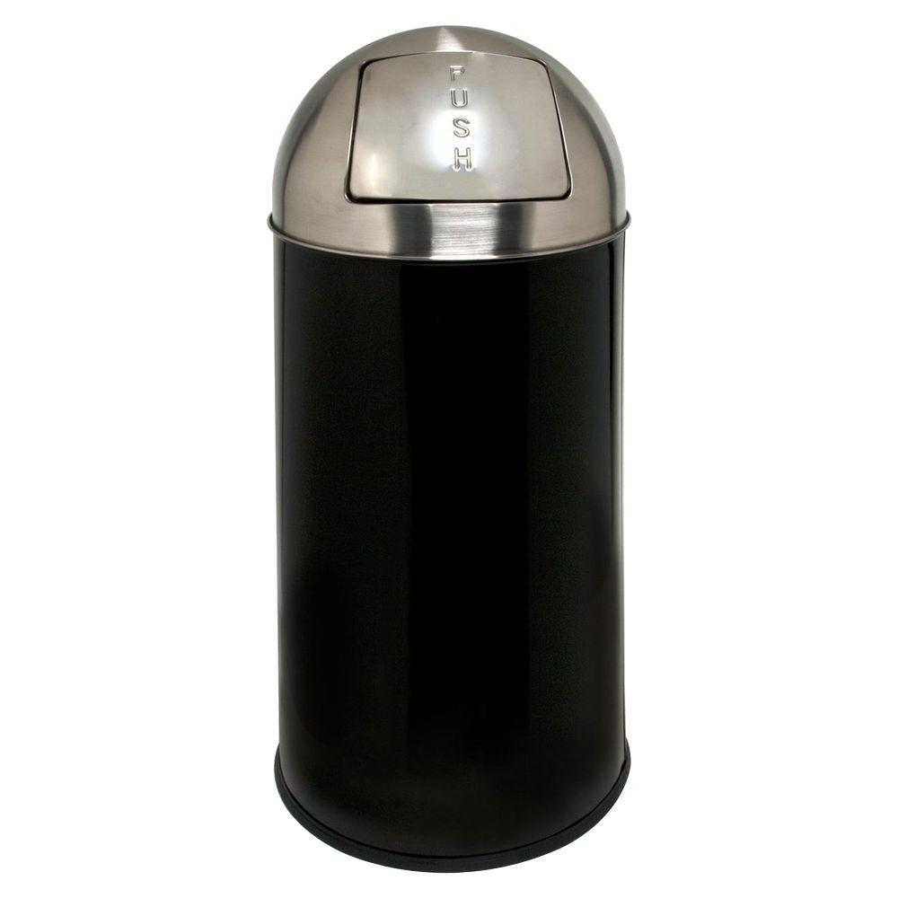 Genuine Joe 12 Gal. Black/Chrome Round Top Trash Can
