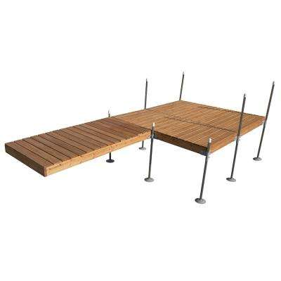 16 ft. L-Style with 8 ft. X 8 ft. Platform Section Cedar Complete Dock Package