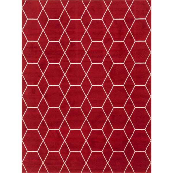 Trellis Frieze Red/Ivory 9 ft. x 12 ft. Geometric Area Rug
