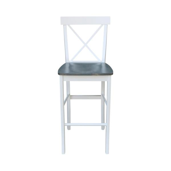 30 in. H Alexa White/ Heather Gray Solid Wood Bar Stool