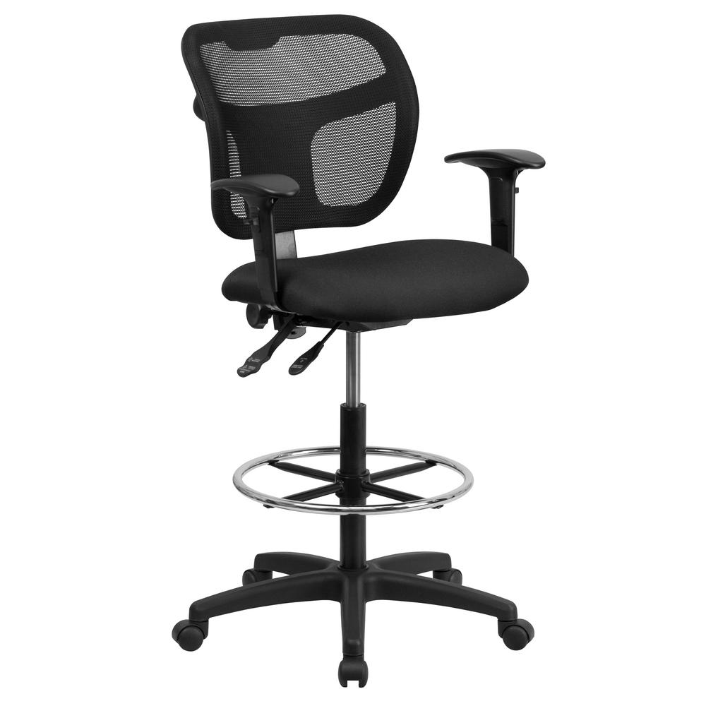 Superieur Flash Furniture Mid Back Mesh Drafting Chair With Black Fabric Seat And  Height Adjustable Arms