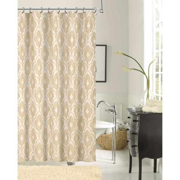 Dainty Home Gramercy Park 72 in. Taupe Shrink Yarn Fabric Shower