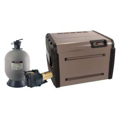 In Ground Swimming Pool Sand Filter Equipment Bundle with 20 in. Sand Filter, 1 HP Pump, 200,000 BTU Propane Heater