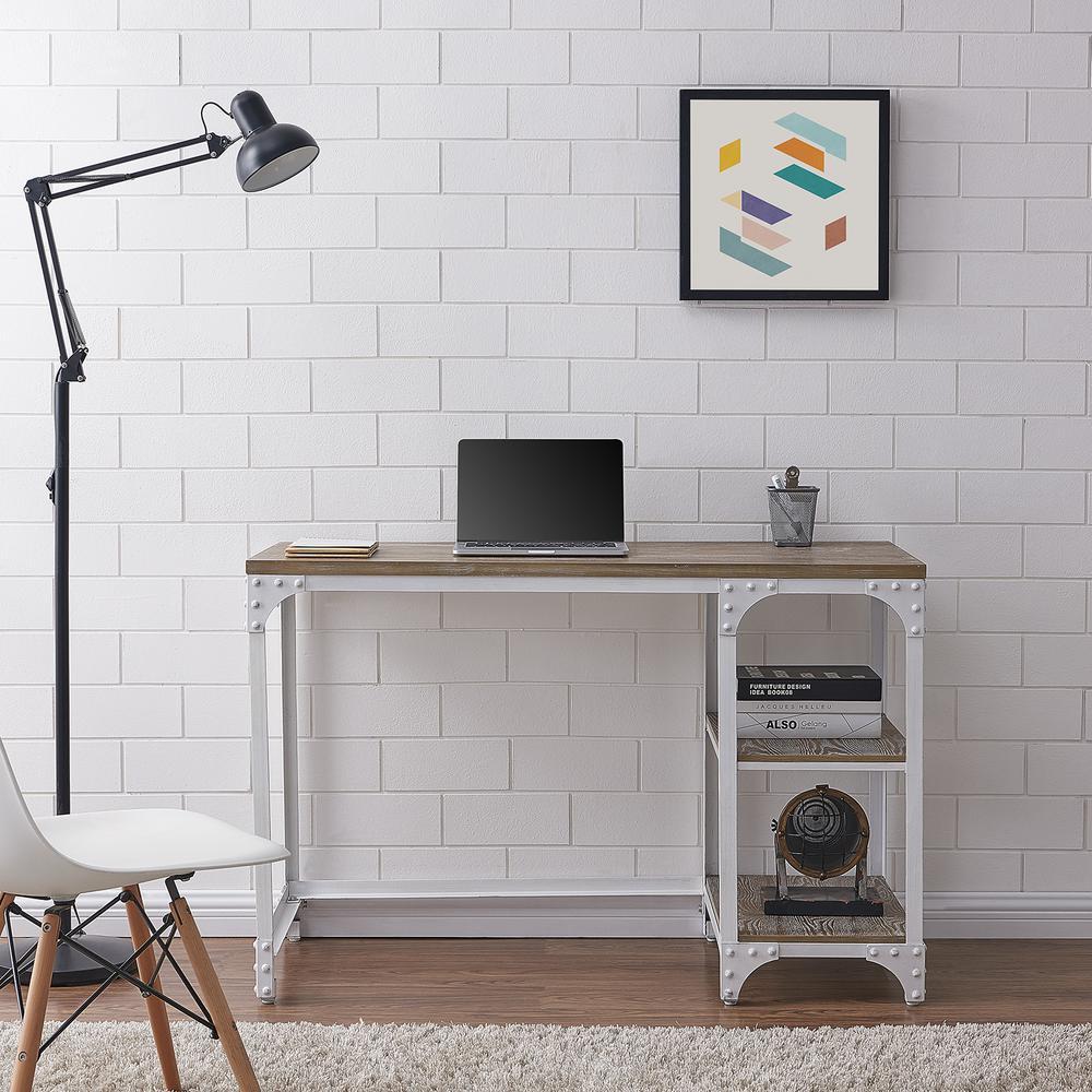 Frannie Distressed White Desk