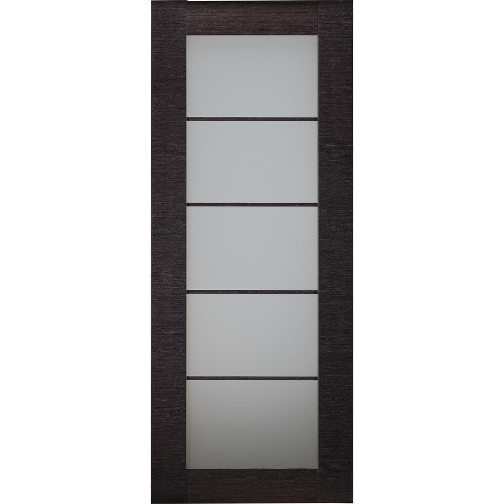 Belldinni 24 in. x 80 in. Avanti Black Apricot Finished Solid Core Wood 5-Lite Frosted Glass