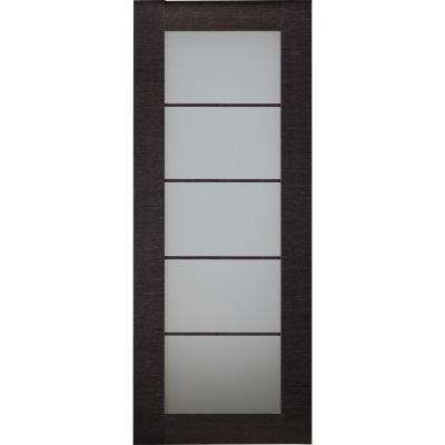 32 in. x 80 in. Avanti Black Apricot Finished Solid Core Wood 5-Lite Frosted Glass Interior Door Slab No Bore