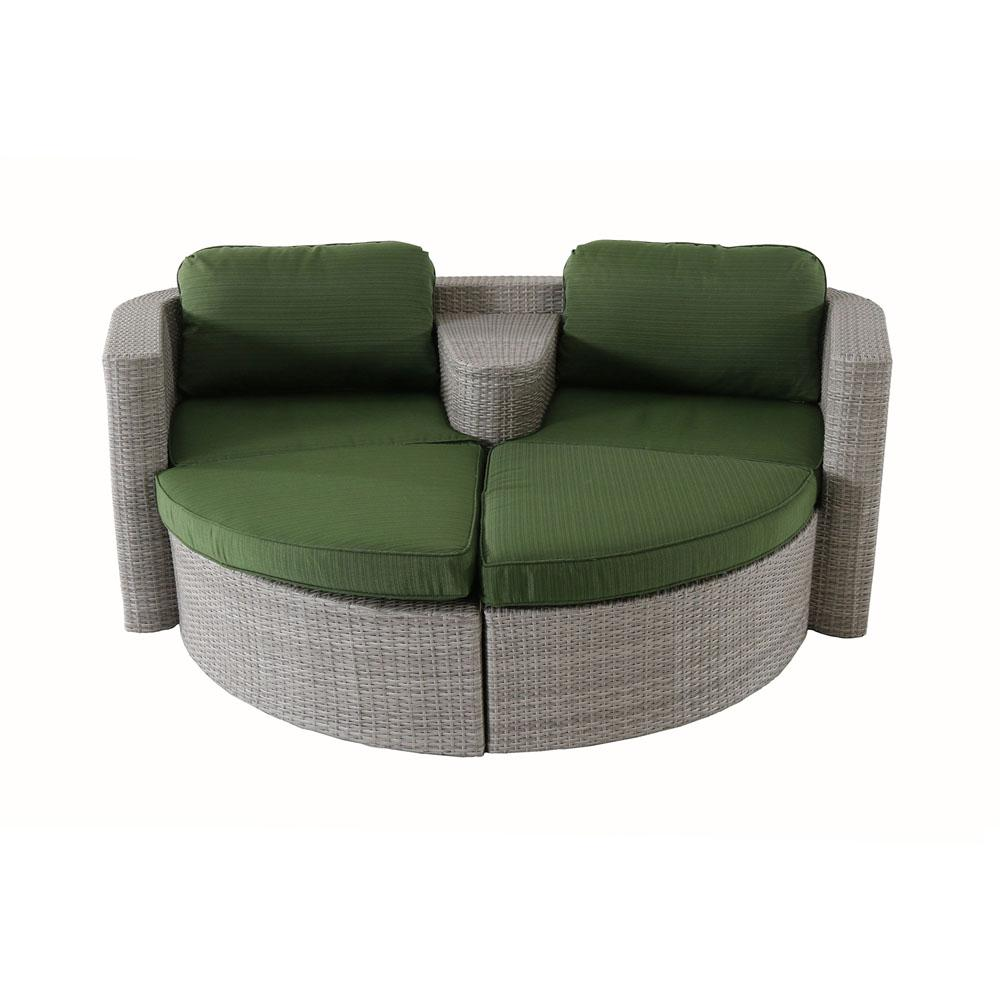 Boca Del Mar 3-Piece All-Weather Wicker Patio Lounge Chair with Basil