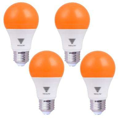 60-Watt Equivalent A19 E26 Standard Medium Base LED Light Bulb, Orange (4-Pack)