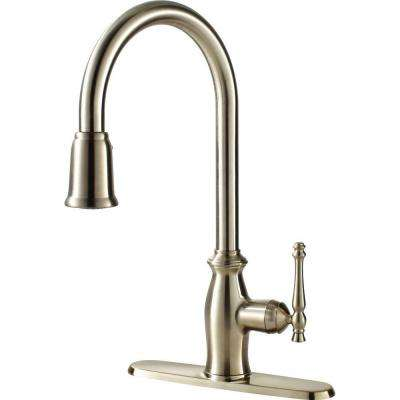 Traditional Collection Single-Handle Pull-Down Sprayer Kitchen Faucet in Stainless Steel