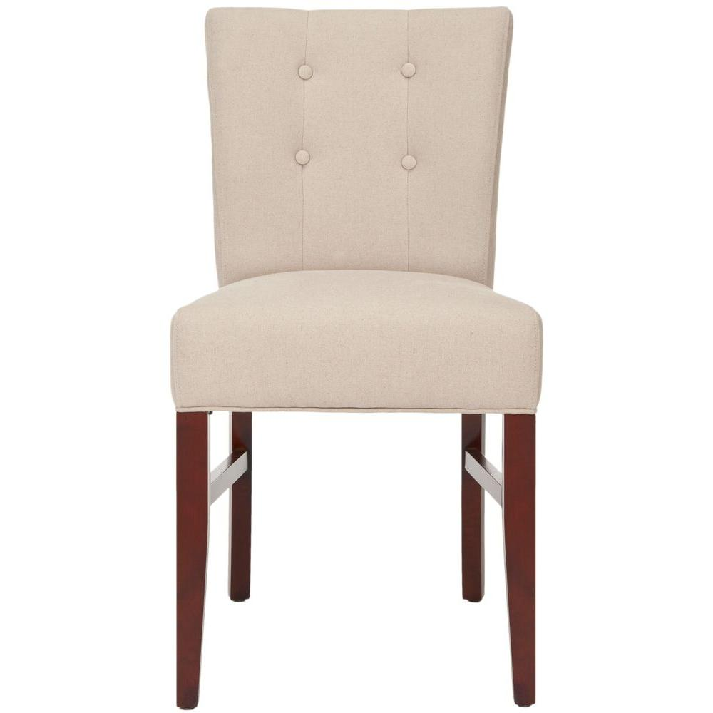 Safavieh Trevor Taupe Birchwood Linen Side Chair (Set of 2) - DISCONTINUED
