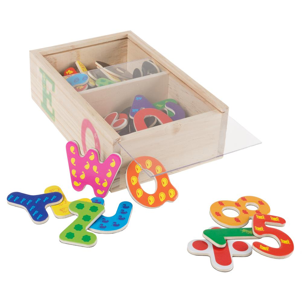 Wooden Math and Alphabet Magnet Set (52-Piece)