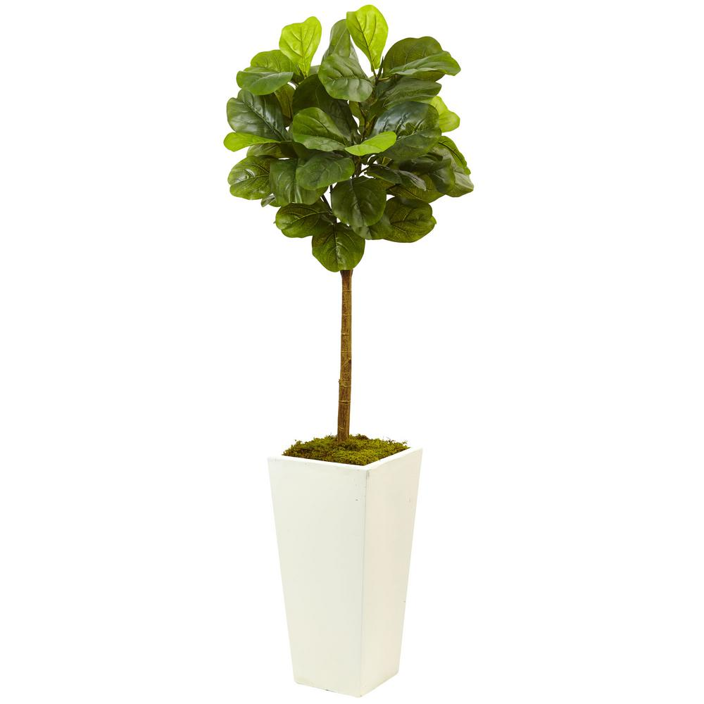 nearly natural 4 5 ft fiddle leaf fig in white planter real touch 5966 the home depot. Black Bedroom Furniture Sets. Home Design Ideas