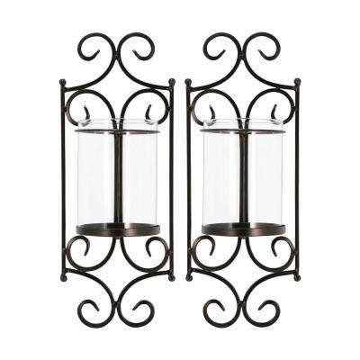 Windsor 15 in. x 6 in. Rustic Iron and Clear Glass Wall Sconce Candle Holders (Set of 2)