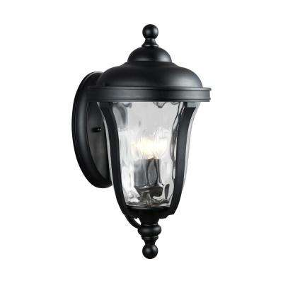 Perrywood 3-Light Black Outdoor Wall Lantern Sconce with Clear Water Glass