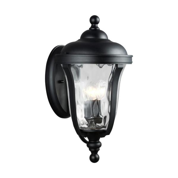 Perrywood 3-Light Black Outdoor Wall Lantern Sconce with Clear Water Glass with LED Bulbs