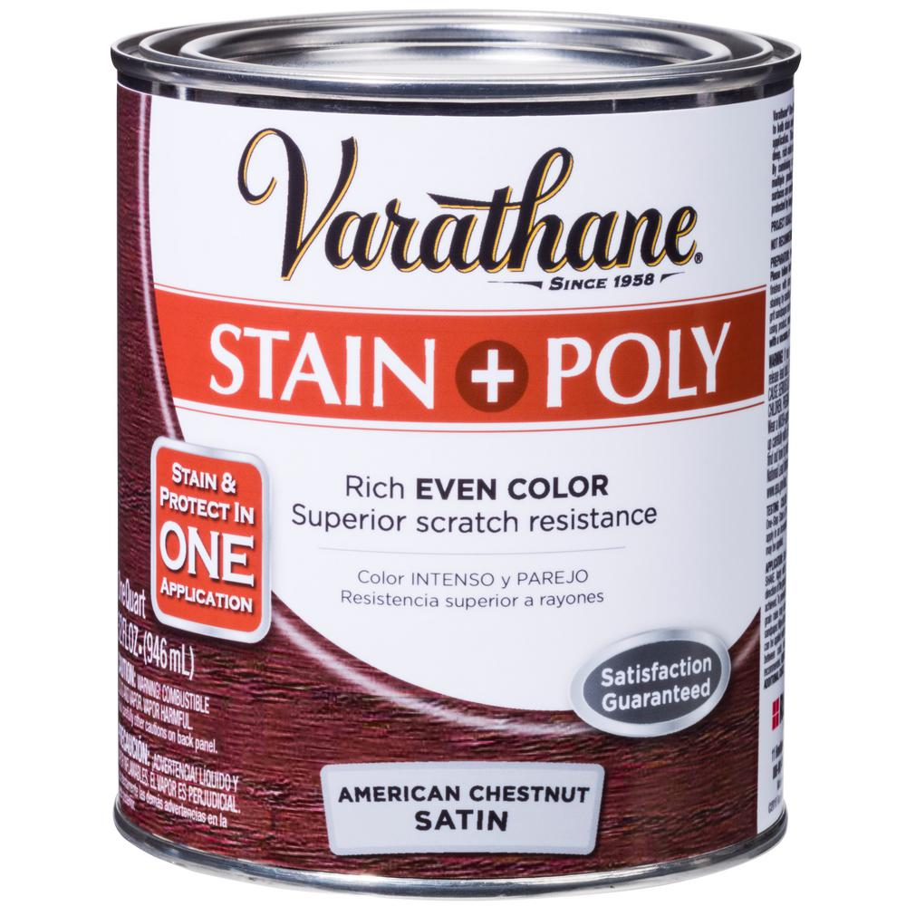 1 qt. American Chestnut Satin Oil-Based Interior Stain and Polyurethane (2-Pack)