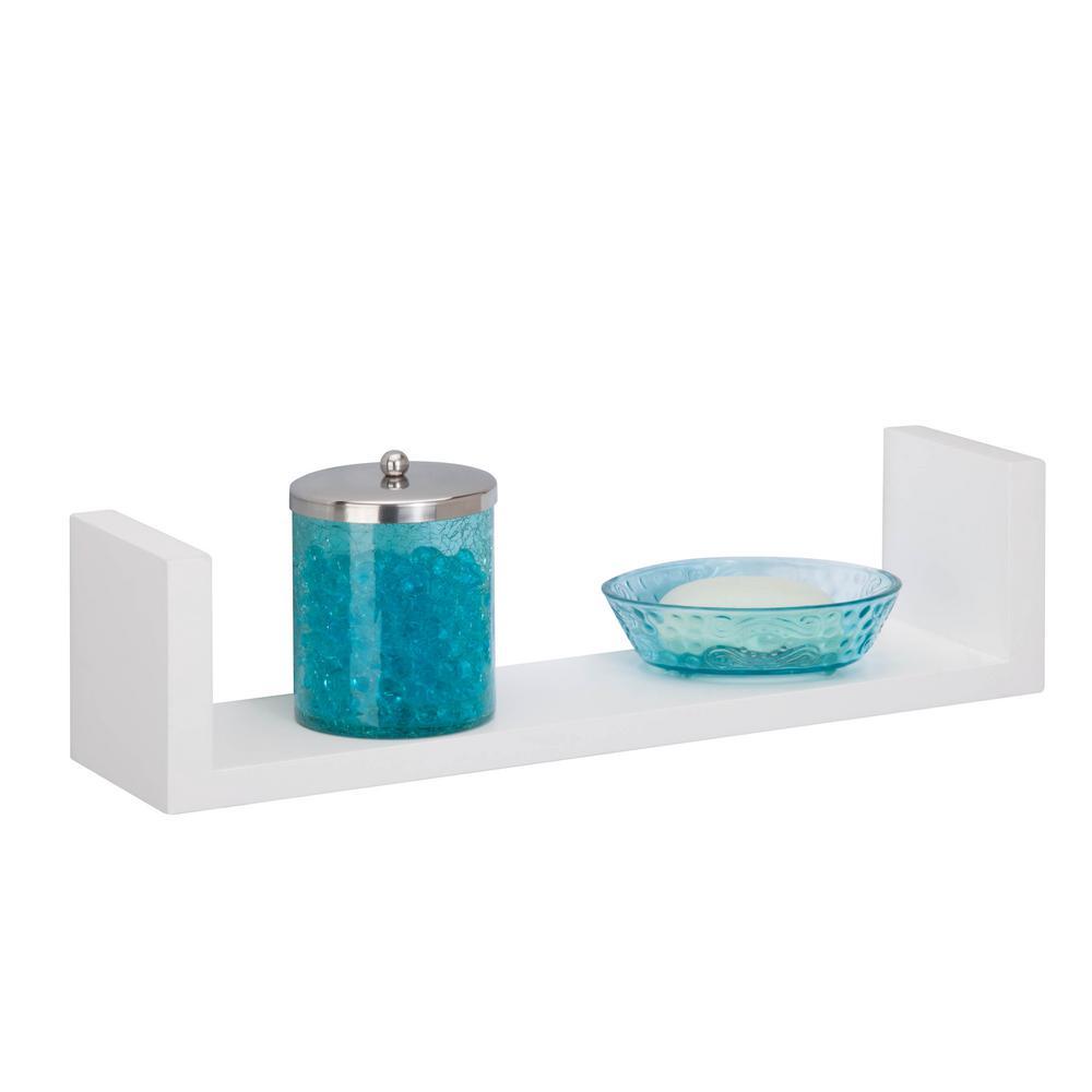 15.75 in. W x 3.94 in. D Wall Ledge Shelf in White Decorative Shelf