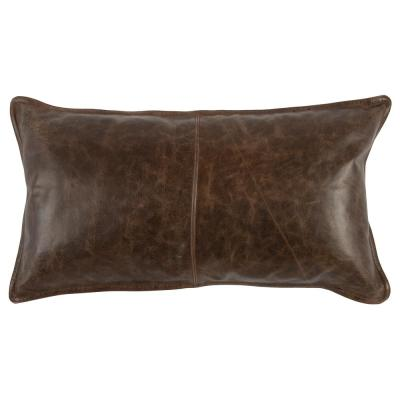Distressed Leather Parsons Cocoa 14 in. x 26 in. Rectangle Decorative Pillow