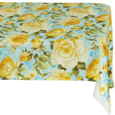 55 in. x 70 in. Yellow Indoor and Outdoor Sunflower Design Table Cloth for Dining Table