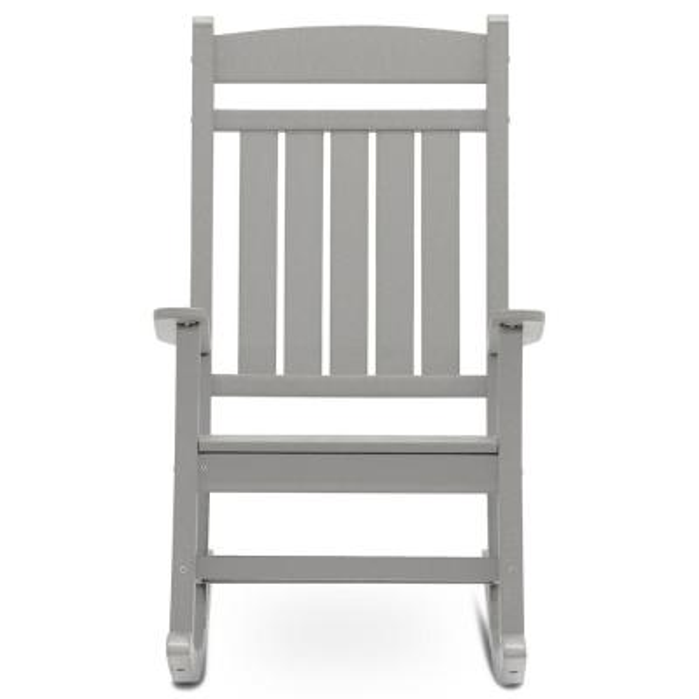 Classic Rocker Light Gray Plastic Outdoor Rocking Chair