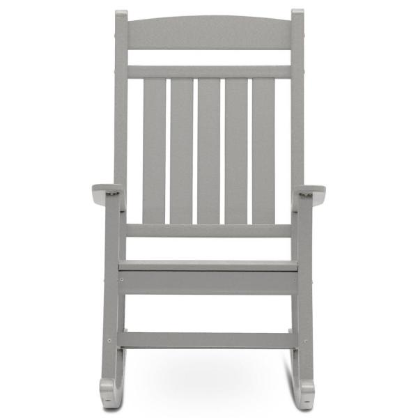Classic Rocker Light Gray Plastic Outdoor Rocking Chair