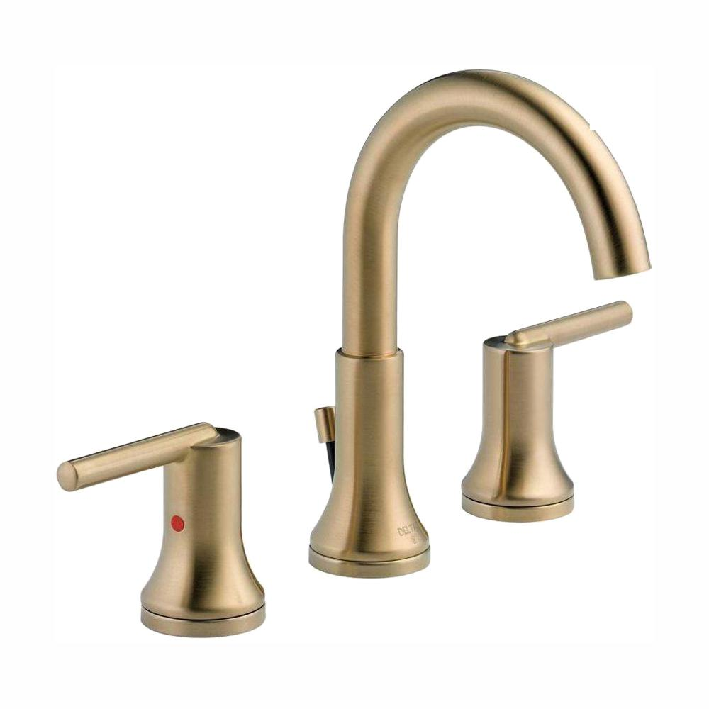 Delta Trinsic 8 In Widespread 2 Handle Bathroom Faucet With Metal Drain Assembly In Champagne Bronze